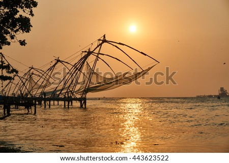 Beautiful seascape at sunset in Fort Kochi, India                                - stock photo