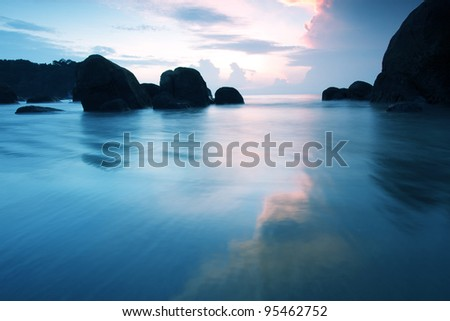Beautiful seascape. Five seconds of sunrise - stock photo