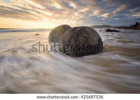 Beautiful seascape in east coast of New Zealand. - stock photo