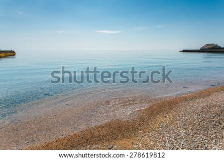 Beautiful seascape in the morning on the southern coast of Crimea - stock photo