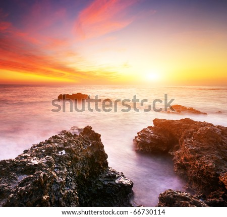 Beautiful seascape. Nature composition of sunset. - stock photo