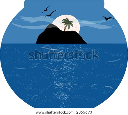 Beautiful seascape of island in fishbowl under the moonlight - stock photo