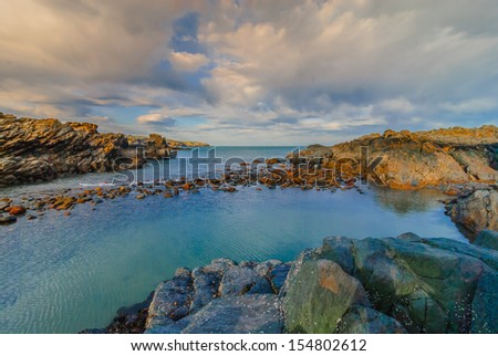 Beautiful seascape on the Coastline of Aberdeen in March - stock photo