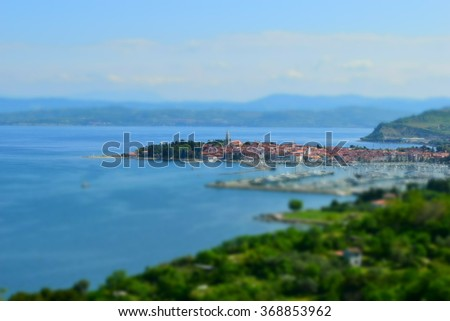 Beautiful seascape, panoramic landscape sea veiw, small old venetian city Izola on the Adriatic coast, Izola Slovenia