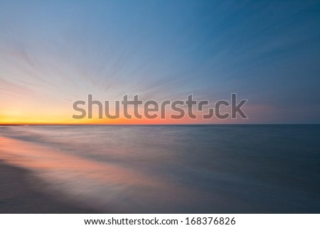 Beautiful seascape sunset - stock photo