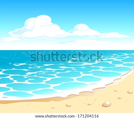 Beautiful seascape with a tropical sand beach. Raster version - stock photo