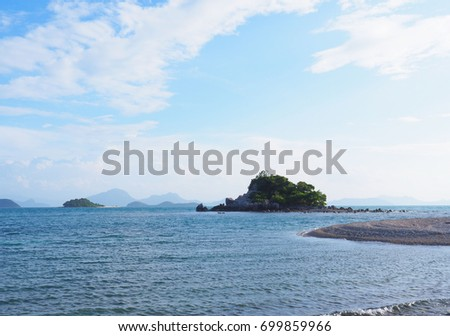 Beautiful  seascape with blue sky at daylight
