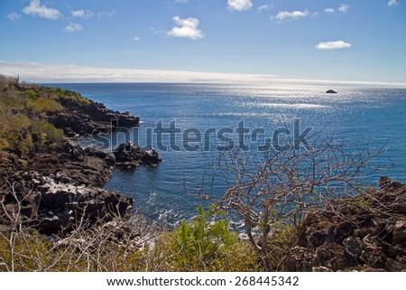 Beautiful seashore landscape taken from Carola Point in San Cristobal Island, Galapagos, Ecuador - stock photo