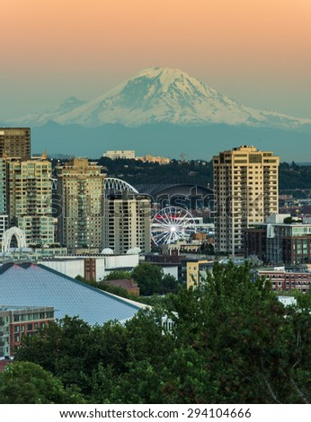 Beautiful Seattle in the Evening with Mt.Rainer - stock photo