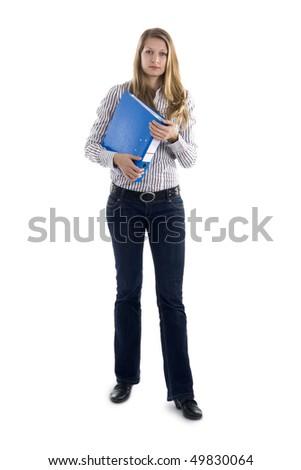 Beautiful secretary with file - stock photo
