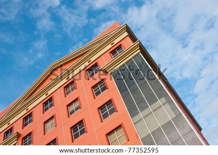 beautiful section of an urban developed building - stock photo
