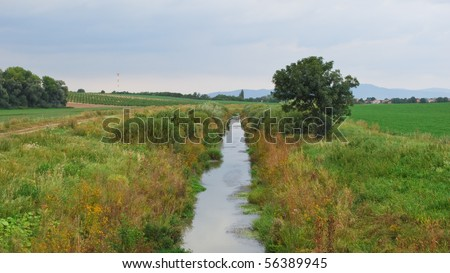 Beautiful section of lowland river with surrounding vegetation