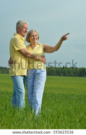 Beautiful senior couple in summer field against the sky