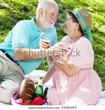 Beautiful senior couple on a romantic picnic for two. - stock photo