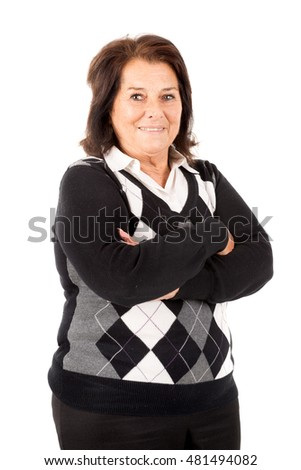 Beautiful senior woman isolated in a white background