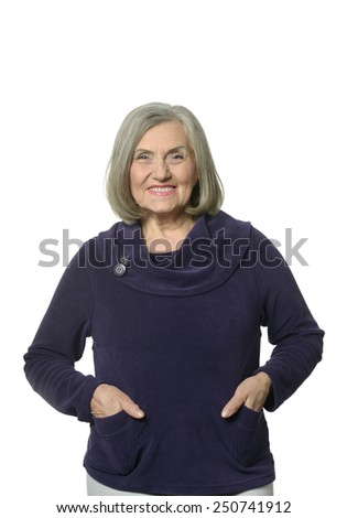 Beautiful Senior woman on white background - stock photo