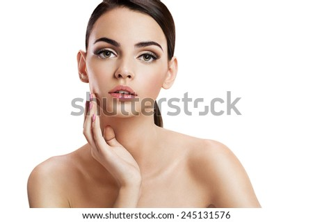 Beautiful sensual woman face, skin care concept / photo composition of brunette girl  - isolated on white background