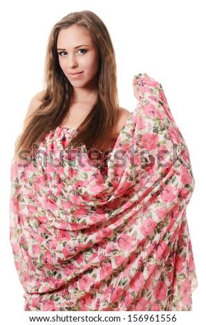 Beautiful sensual woman in a pink dress - stock photo