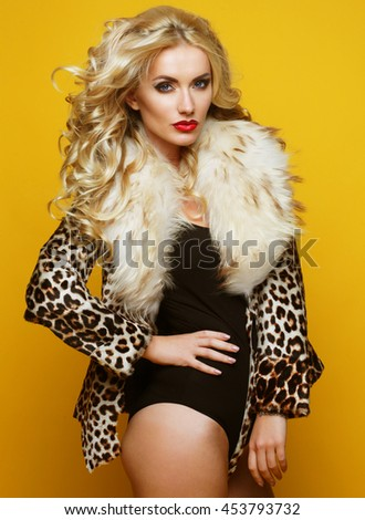 beautiful sensual woman with luxurious blond hair  - stock photo