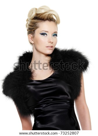 Beautiful sensuality glamour woman in black dress with fur and curly  hairstyle,  on white background - stock photo