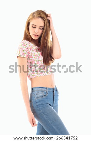 Beautiful sensuality teen girl with long straight hair isolated on white background