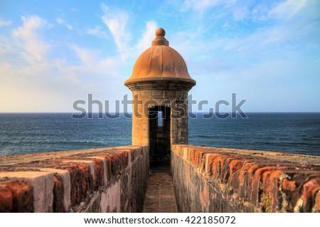 Beautiful sentry box (Guerite) at Fort San Cristobal in San Juan, Puerto Rico - stock photo
