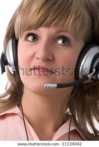 beautiful serious customer support girl with headset, isolated on white background - stock photo