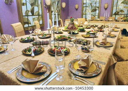 beautiful served table in a restaurant - stock photo