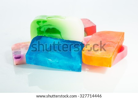 Beautiful set of many different handmade soap.  - stock photo