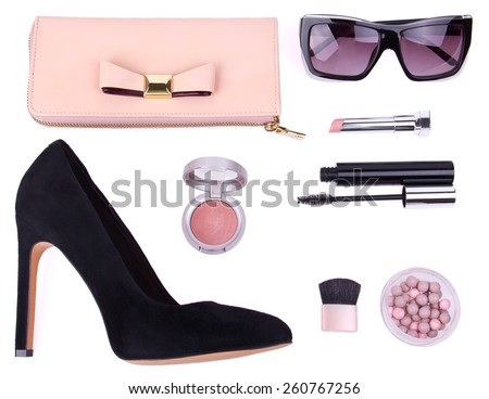 beautiful set of women's fashion accessories and cosmetics on white background, isolated - stock photo