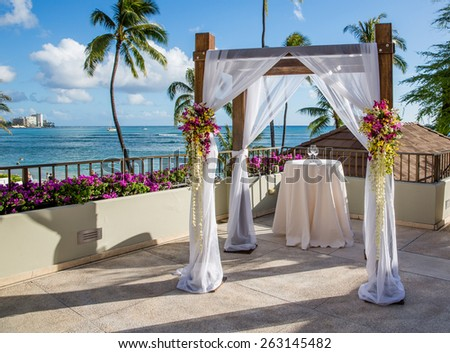 Beautiful setting for wedding ceremony in Hawaii - stock photo