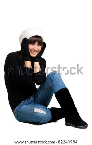 Beautiful sexual girl brunette in winter to cloth white background - stock photo