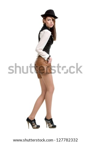 Beautiful sexual girl brunette pose on white background