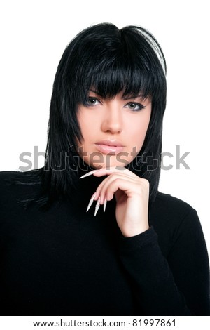 Beautiful sexual girl brunette pose on white background, is insulated - stock photo