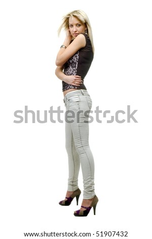 Beautiful sexual girl on white background is insulated