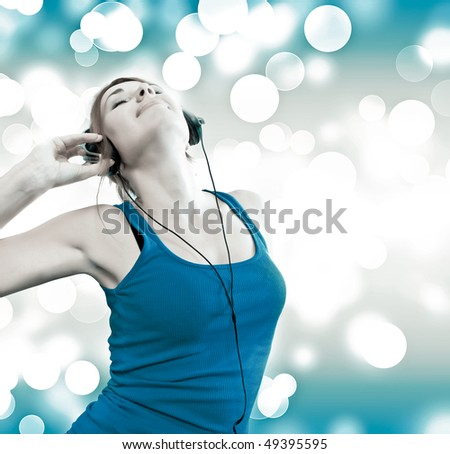 beautiful sexual woman in headphones - stock photo