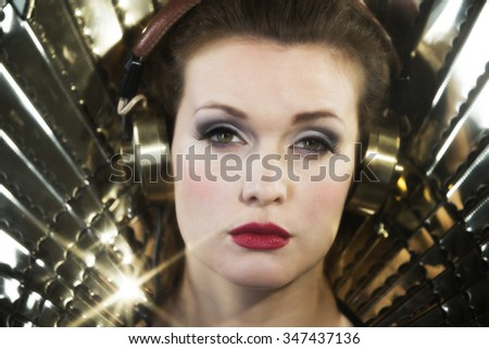 beautiful sexy disco woman, listening to music. Perfect for stylish club, disco and fashion events  - stock photo