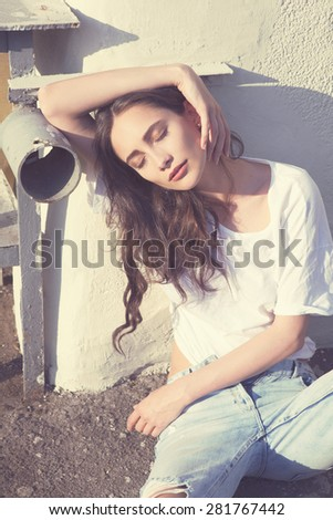 Beautiful sexy, fashion girl on a warm sunny day