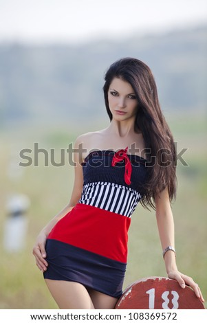 beautiful sexy girl in outdoor shooting - stock photo