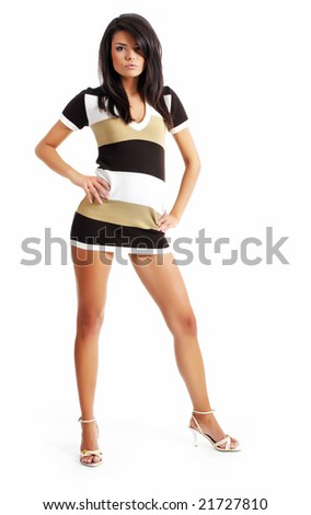 Beautiful sexy girl isolated on white background - stock photo