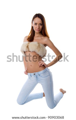 Beautiful, sexy girl on an isolated white background in studio - stock photo