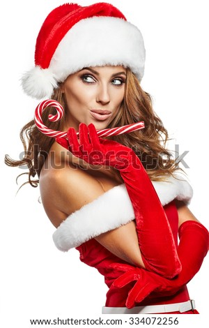 beautiful sexy girl with christmas gifts - stock photo