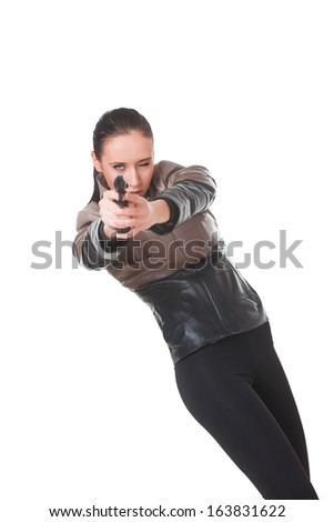Beautiful sexy girl with gun, isolated on white background