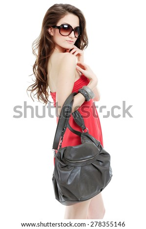 beautiful sexy in sunglasses with bag  - stock photo