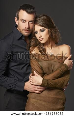 Beautiful sexy intimate couple hugging - stock photo