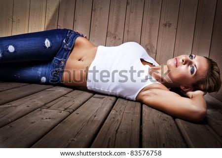 beautiful sexy jeans wears women model - stock photo