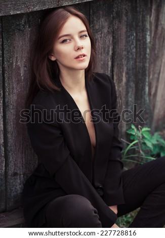 beautiful sexy model posing - stock photo