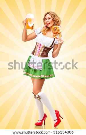 Beautiful sexy Oktoberfest woman wearing a traditional Bavarian dress dirndl holding a pretzel and beer mug in hands on colorful abstract cartoon style background.