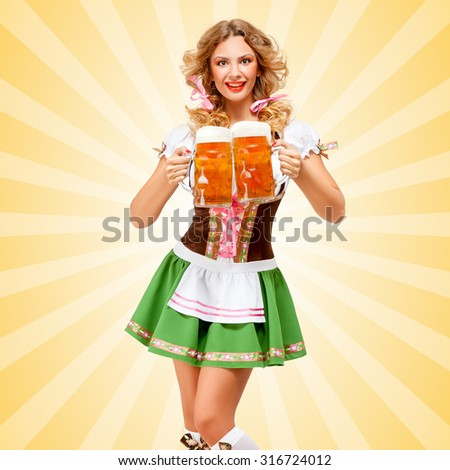 Beautiful sexy Oktoberfest woman wearing a traditional Bavarian dress dirndl serving two beer mugs with happy smile on colorful abstract cartoon style background.