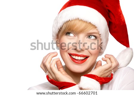Beautiful sexy santa clause blond woman hat, isolated on white background - stock photo